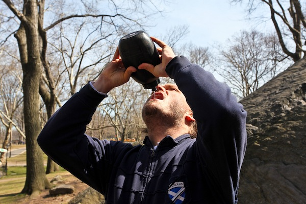 "drinking ""filtered"" water from the ground in Central Park"