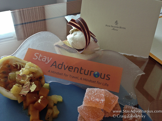 stay adventurous platter, a amenity for a special guest at the four seasons miami
