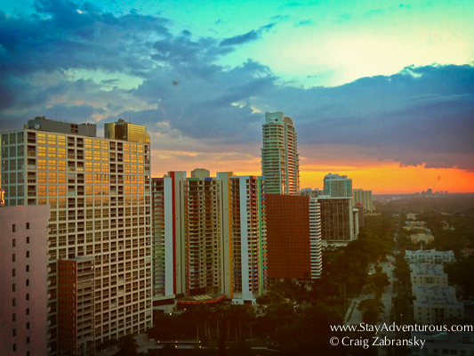the sunset view from my room at the Four Seasons Miami in Brickell