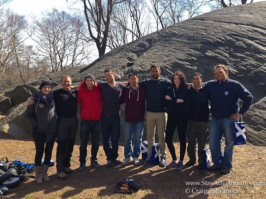 the group photo of the Bear Grylls survival teaser inside Central Park