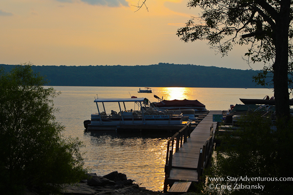 taking the lake wallenpaupack scenic boat tour at sunset