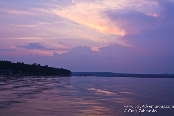 sunset on lake wallenpauck while on the scenic boat tour