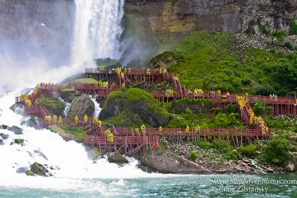 the walk down to the American Falls at the Niagara Falls is a popular attraction on the American Side