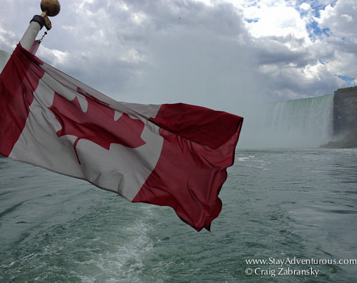 the Flag of Canada on the back of the Maid of the Mist boat