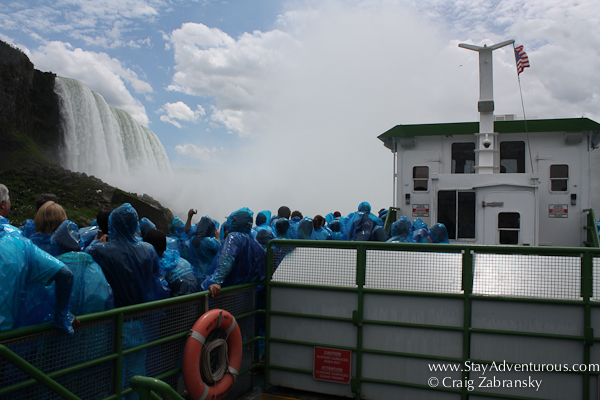the upper deck of the Maid of the Mist on the Niagara River heading to the Niagara Falls