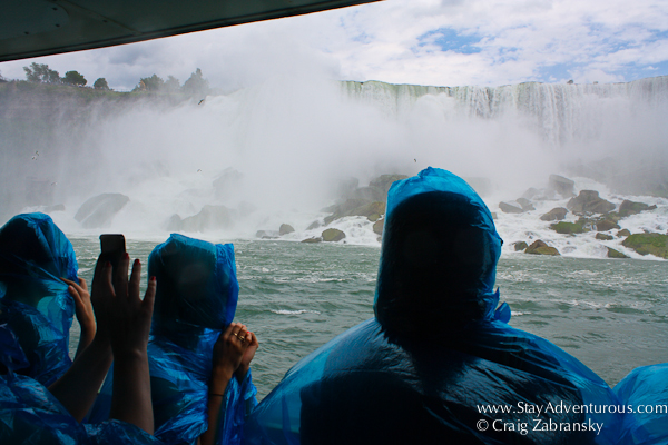 the lower deck of the Maid of the Mist on the Niagara River heading to the Niagara Falls