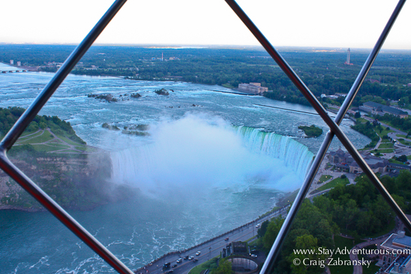 the view of the Horseshoe Falls at the Niagara Falls from the Skylon Tower