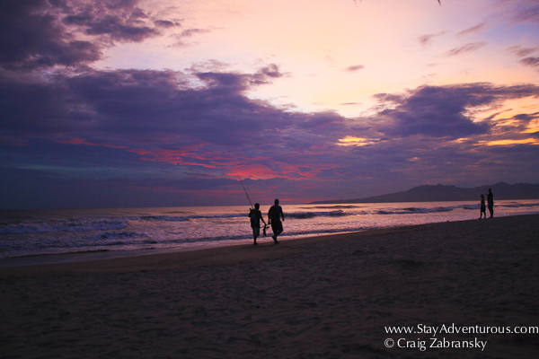 sunset on the beach at the PAradise Village in Nuevo Vallarta on the Riviera Nayarit.
