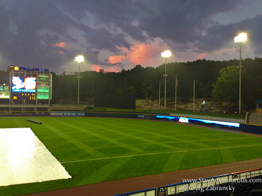 sunset at PNC field before a Rail Riders game with a rain delay
