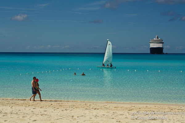 a look at the cruise ship form the beach at Half Moon Cay in the Bahamas - craig zabransky