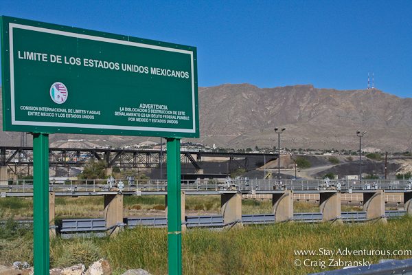 One of the Border Signs near the Juarez, Mexico and Texas El Paso, USA border