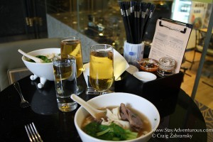 a snack from the hand made noodle bar at Hotel Orchard Singapore