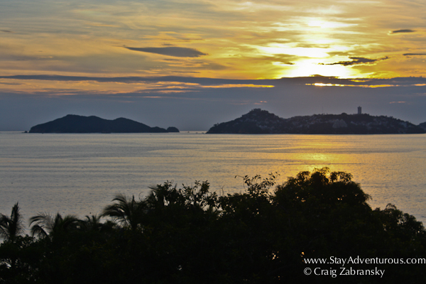 the sunset on Acapulco Bay in Mexico