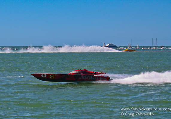 the speedboats fly by in clearwater, Florida for the Superboats National Championship