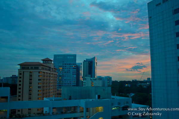 the view from the Orchard Hotel Singapore at sunset