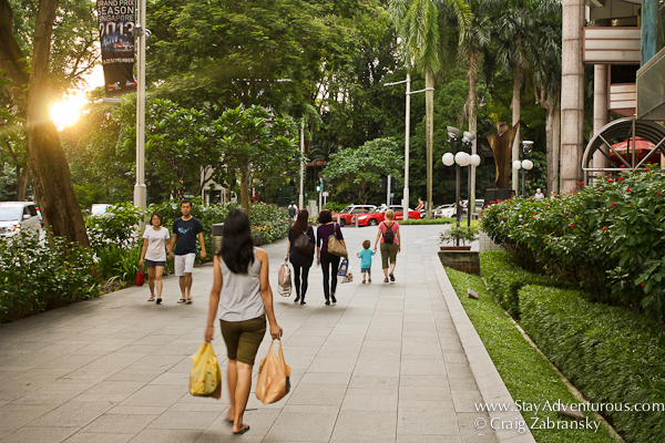 walking on Orchard Road close to sunset in Singapore