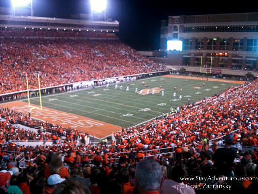 the Campus Crasher Seats at Boone Pickens Stadium in Stillwater, Oklahoma for a Oklahoma State football game