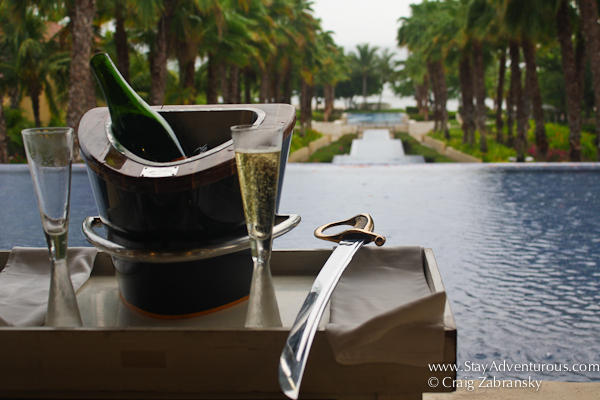 the bottle of champagne and the saber from the sabrage at the St Regis Resort in Punta Mita Mexico.