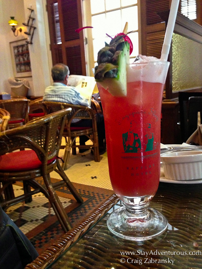 the singapore sling at the long bar inside the raffles hotel in singapore