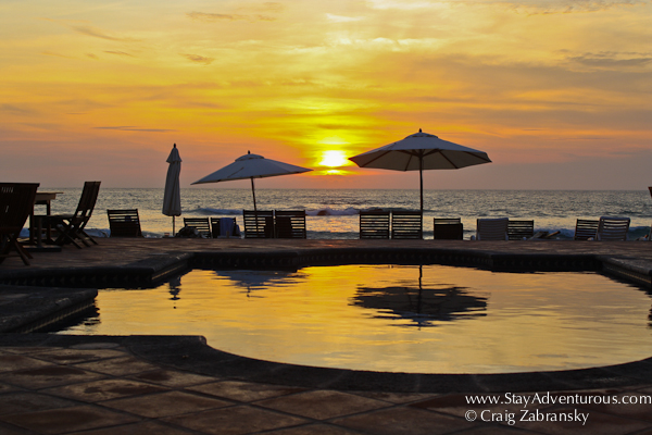 sunset at the residence beach club in Punta Mita located in the Riviera Nayarit of Mexico