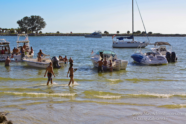 the party in the water at the Tiki Bar in Shepard's Resort in Clearwater, Fl