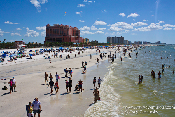 the view of Clearwater Beach and the Hyatt hotel from Pier 60 in Clearwater, FL