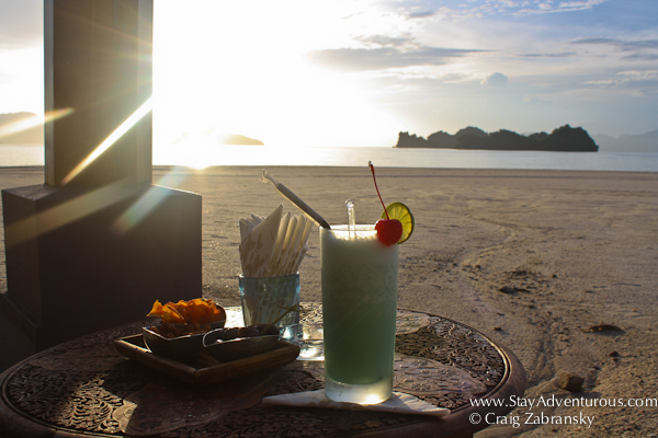enjoying the sunset at the Rhu Bar at the Four Seasons Resort Langkawi Malaysia