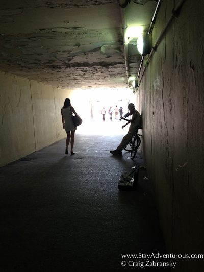 the underpass filled with beauty in art and women as I walked to Oak Street Beach in Chicago