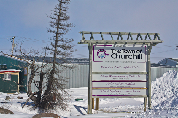 the welcome sign for Churchill, Manitoba, Canada - Polar Bear Capital of the World