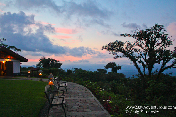 the Villa Blanca Hotel and Reserve in the Los Angeles Biosphere Reserve at Sunset in the Cloud Forest of Costa Rica