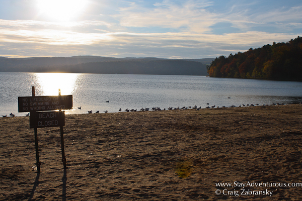 the glimmer on the lake at Glimmerglass State Park in Upstate in New York