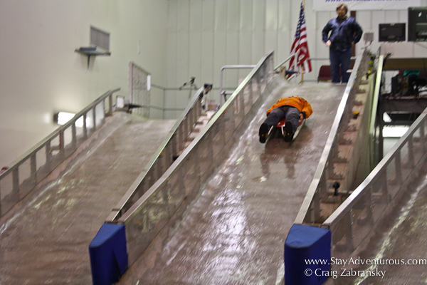 the indoor Winter Olympic Luge training facility in Lake Placid, New York, USA