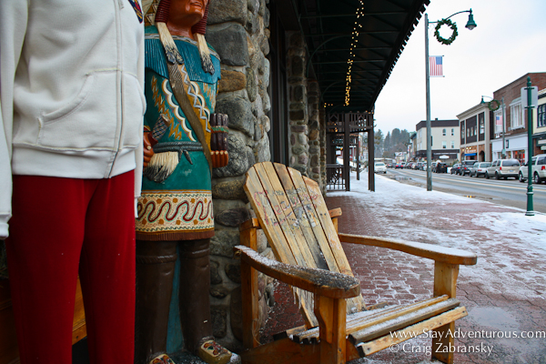 main street and an adirondack chair in Lake Placid, New York, USA