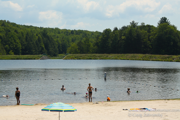 a bikini on Beaver Lake Beach in the Lake Region of Pennsylvania close to Lake Wallenpaupack