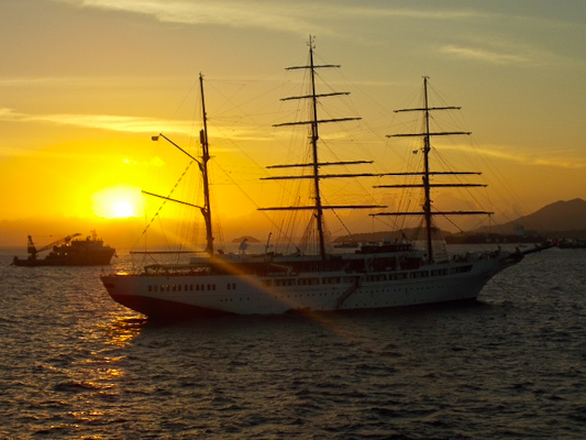 sunset from Manta Ecuador aboard a cruise ship.