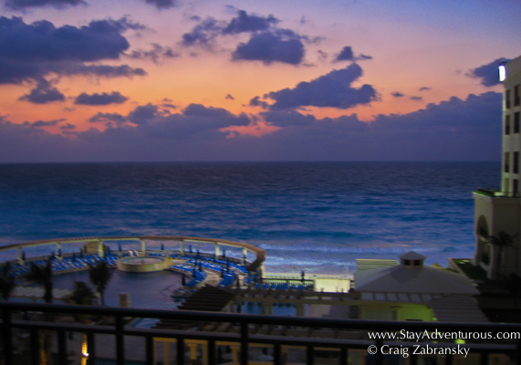 the sunrise at the casamagna marriott in cancun, mexico during spring break