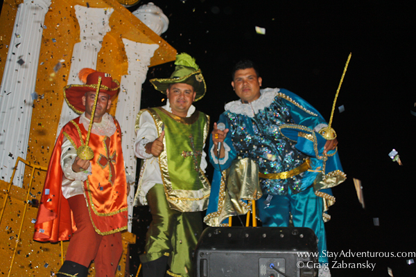the three muskateers from carnaval parade in mazatlan mexico