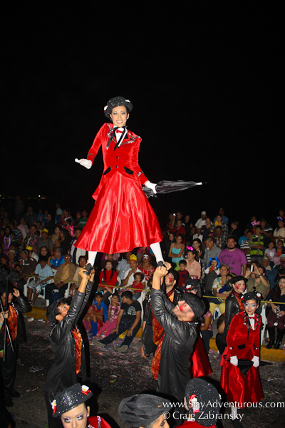Mary Poppins at the carnaval parade on the malecon in mazatlan, sinaloa, mexico