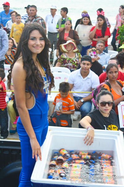 the pacifico giveaway at carnaval parade in mazatlan mexico