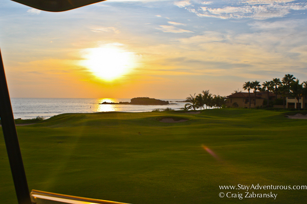sunset on the Jack Nicklaus designed El Bahia golf course in Punta Mita, Nayarit, Mexico