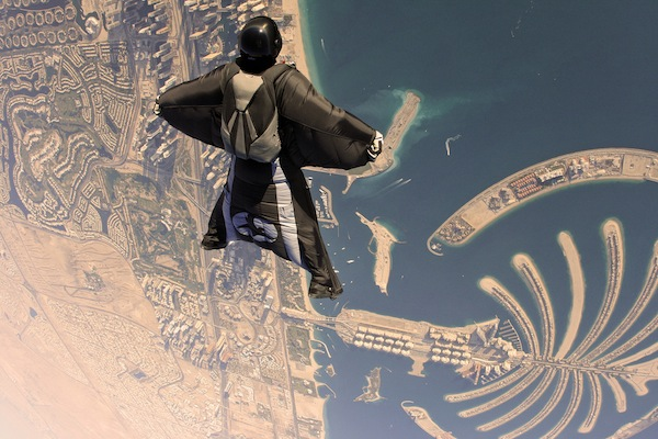 sky diving dubai in the middle east with a view of the islands