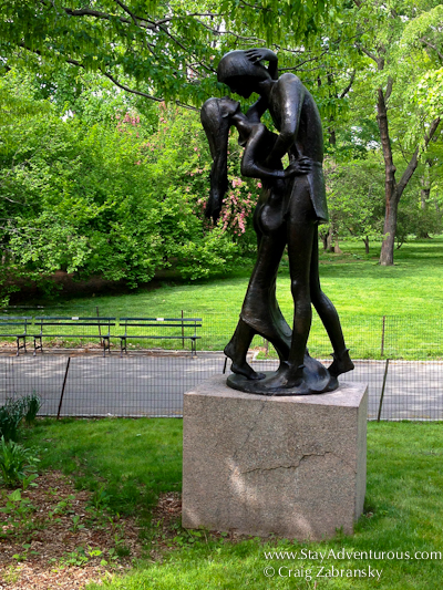 Romeo and Juliet Statue in Central Park outside the Decorte Theatre which produces Shakespheare in the Park, New York City