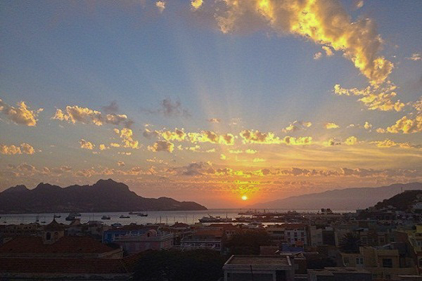 the sunset in Mindelo, St. Vincent Island, Cape Verde