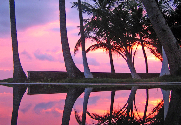 an asian sunset reflection from the Galle District in Sri Lanka