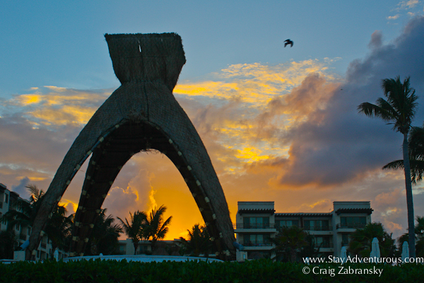 Sunset of the Pavilion at Dreams Riviera Cancun in the Riviera Maya of Mexico