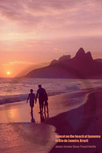 Sunset from Ipanema Beach in  Rio de Janeiro in Brazil for the 2014 World Cup celebrations