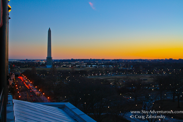 Sunset View from the POV Roof Top Terrace at the SPG W Hotel in Washington DC, USA