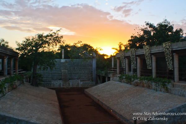 sunset from the mayan ball court inside Xcaret Park, Riviera Maya, Mexico
