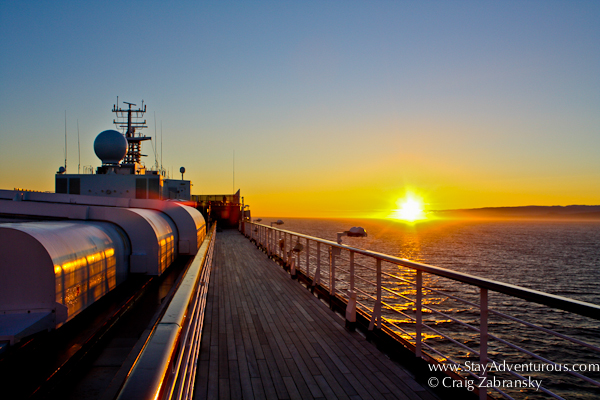 sunset on the ms westerdam, holland america, sailing to alaska