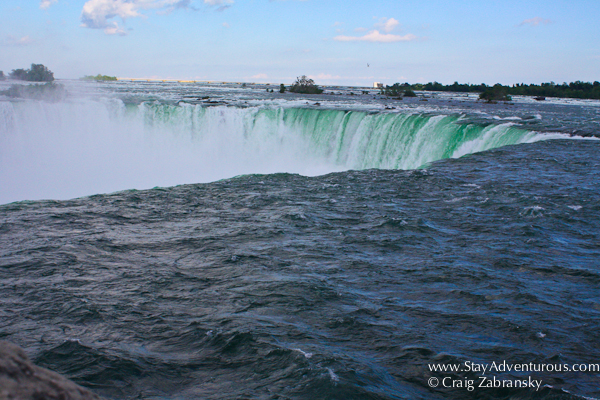 a view of the Niagara Falls from the Canada Side, the horseshoe falls from above
